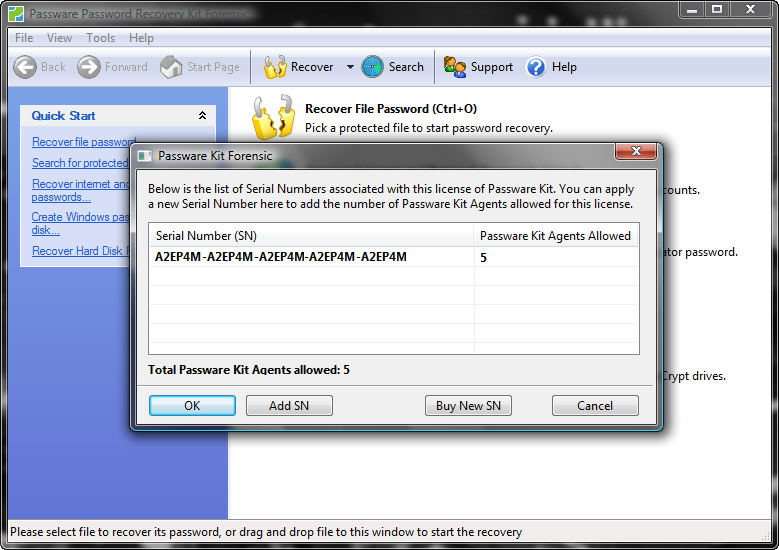 4.The License Manager windows now displays your new Product Key and the inc